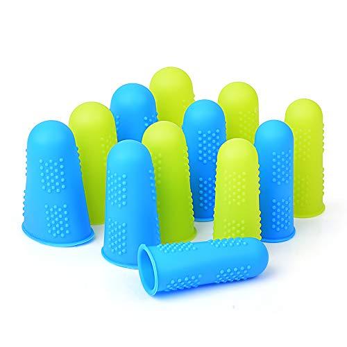 Hydream Silikon Fingerschutz Abdeckungen, 12 PCS Fingerkuppen Protector Covers Finger Caps für Heißklebepistole Honig Adhesives Klebstoffe Wachs Scrapbooking Nähen Handwerk in 3 Größen (Blau & Gelb)