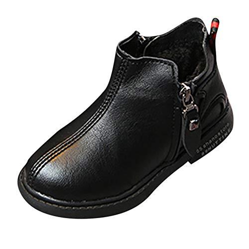 Fenverk Kinder Schuhe Mode Jungs MäDchen Martin Sneaker Stiefel BeiläUfig Kind Winter Warm Dick Baby Leder Schnee Trainer(Schwarz,29 EU)