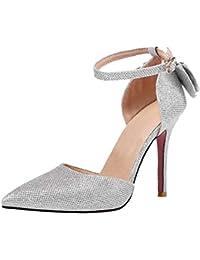 656ec65265d477 Artfaerie Damen Stiletto High Heels Spitz Pumps mit Riemchen und Schleife…