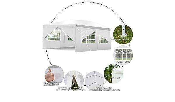Yongtaifeng Tente de R/éception pour Jardin 3/×6M Utilisation comme Pavillon Chapiteau ou Tonnelle du Festival avec 6 Parois Lat/érales et Fen/êtres Imperm/éable Blanche