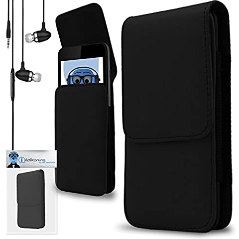 Black PU Leather Vertical Side Pouch Case Cover Holster with Belt Loop Clip, Black 3.5mm Aluminium High Quality In Ear Stereo Wired Headphones with Built in Mic HTC U11