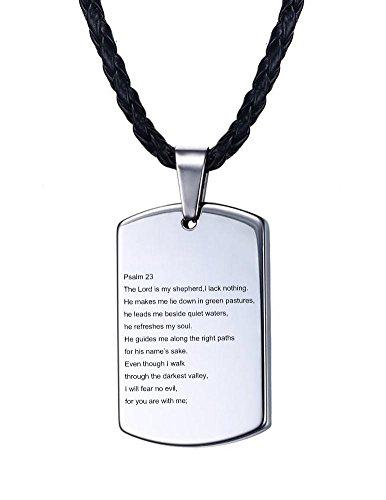 Vnox Männer Tungsten Carbide Psalm 23 Herren Bibel Vers segnen Gebet Dog Tag Anhänger Halskette - Dog Batman Halskette Tag