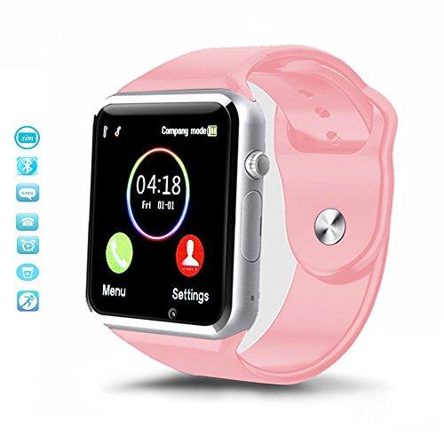 MallTEK Android Smartwatch Bluetooth con Tarjeta TF / SIM, Reloj Inteligente 1.54 Pulgadas con Cámara, Smart Watch con Funciones Pedómetro, Monitor de Sueño, Cámara Remota etc, Pulsera Inteligente para Huawei, Doogee, Samsung, Lenovo, Sony, HTC y la Mayoría de Smartphone Android (Rosa)