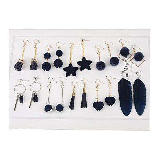 BRICOLAGE Boucles d'oreilles clip oreille matériel à la main accessoires Kit (série bleue)