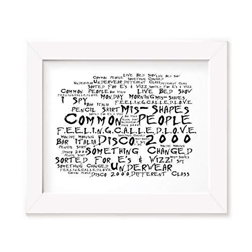 `Noir Paranoiac` Kunstdruck - PULP - Different Class - Unterzeichnet und Nummerierten Limitierte Auflage Typografie Ungerahmt 25 x 20 cm Wand Kunst Druck Text Lyrisch Plakat - Song Lyrics Art Print Poster -