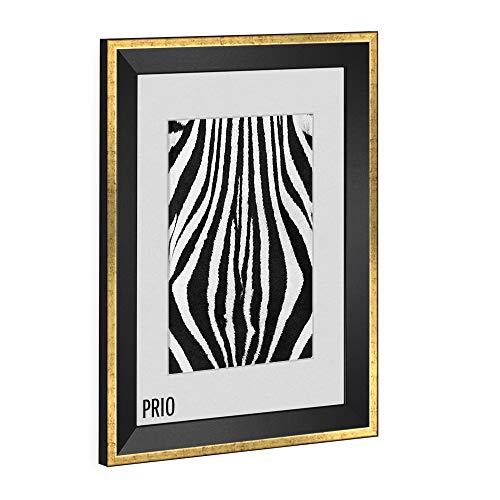 Bilderrahmen modern schmal PRIO 30X40cm Schwarz Goldglanz Antik Rahmen für Bilder Urkunden Poster Farbe & Größe wählbar -