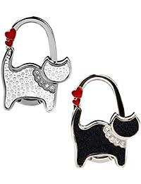 2 Stücke Katze Rosa+Schwarz Punkt Faltbare Tisch Taschenhalter Faltbarer