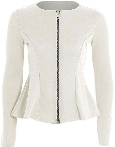 Nuovo donna tinta unita a maniche lunghe Zip Peplum balza Tailored Blazer giacca Top Taglia Uk 8-24 Cream M/L 44/46