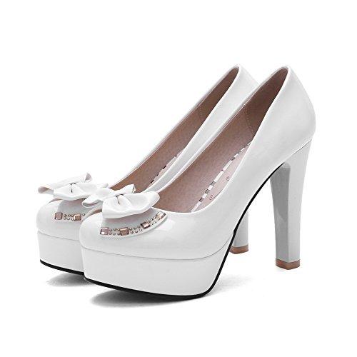 VogueZone009 Femme Tire à Talon Haut Pu Cuir Mosaïque Rond Chaussures Légeres Blanc