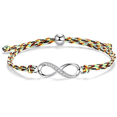 J.Endéar Unendlichkeit Infinity Liebe Freundschaft Seil Armband Geschenk für Mädchen Frauen 22cm Einstellbare Geflochtene handgemachtes Bunte (Kinder-armbänder)