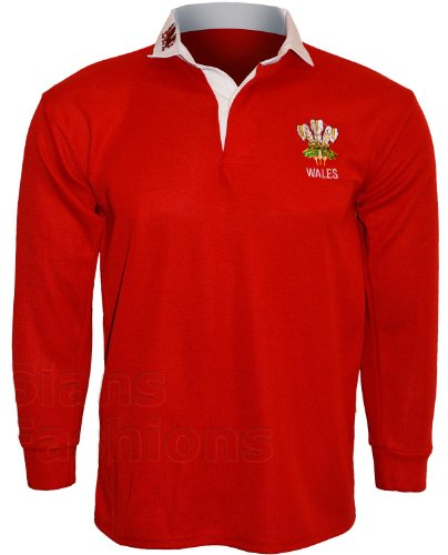 Wales Welsh CYMRU Rugby Shirts Unisex Erwachsene Halsband Full Sleeve S M L XL XXL 3 X L 4 X L 5 X L Gr. L, Mehrfarbig - Red & White (Gestickt Rugby)