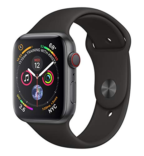 Apple Watch Series 4 (GPS + Cellular) 44 mm Aluminiumgehäuse, Space Grau, mit Sportarmband, Schwarz
