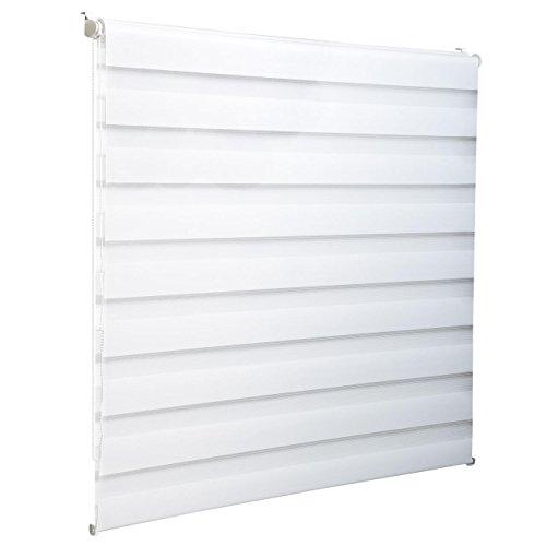 Homelux Doppelrollo Duo-Fensterrollo Klemmträger Kettenzug Seitenzug 50 x 100 cm Weiss - 3