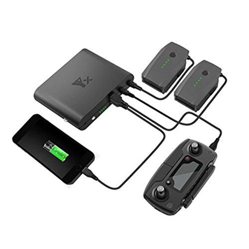 QHJ Batterien Ladegeräte,Schnellladung Portable Power Bank Ladegerät(3.7V 25000mAh/11.4V 8000mAh/18.5V 5000mAh) für DJI Mavic Pro (Schwarz) Bank-batterie-ladegerät