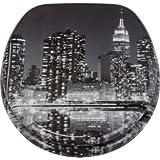 Hochwertige Skyline New York WC-Sitz, schwarz/grau