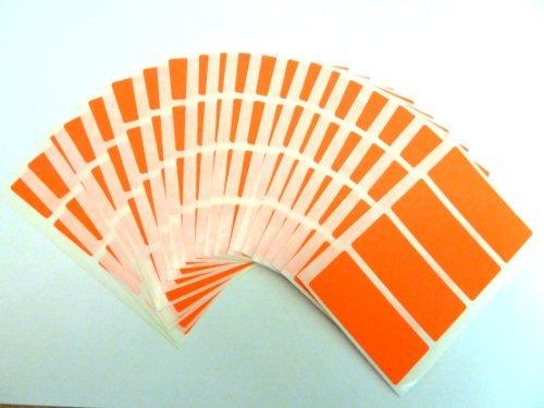 80 Etiquetas, 50x20mm Rectangulo, fluorescente rojo llama, código de color PEGATINAS, autoadhesivo Adhesivo Etiquetas Colores