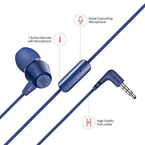 JBL C50HI in-Ear Headphones with Mic (Blue) Image 3