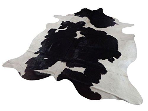 Kuhfell Teppich / Rindsleder Fellteppich Natür -Schwarz und Crème - 211 cm x 185 cm Echtes Designer Lederteppich von Narbonne Leder Co