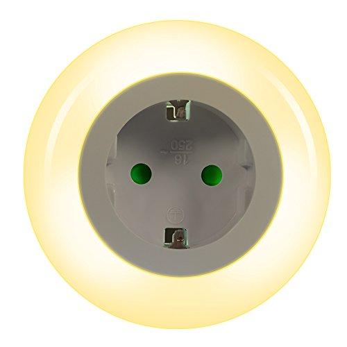 Emotionlite LED Steckdose Nachtlicht mit Dämmerungssensor Nachtlampe Kinder Schützen Steckdose Orientierungslicht Helligkeitssensor (Mehrfarbig)