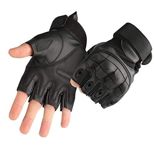 COTOP Gummi Harte Knöchel Handschuhe Fingerlose Halbfinger Sport Outdoor Handschuhe Fit für Radfahren Airsoft Paintball Motorrad Wandern Camping Fitness Fahrrad Handschuhe(Black, L)