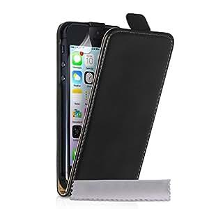 Caseflex iPhone 5S Case Black Split Leather Flip Cover