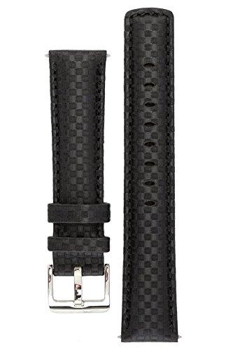 signature-carbon-armbanduhr-band-ersatz-uhrenarmband-echtleder-silber-schnalle