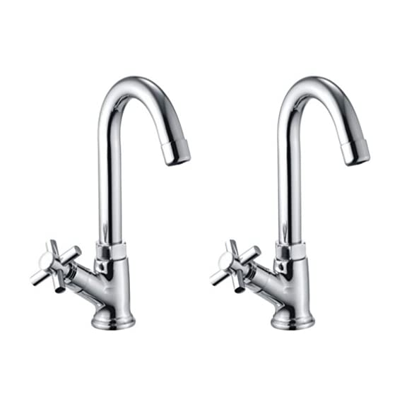 Drizzle Swan Neck Pillar Cock Corsa Brass Chrome Plated/Wash Basin Tap / 360 Degree Moving Spout Tap/Bathroom Tap/Quarter Turn Tap/Water Foam Flow Tap - Set of 2