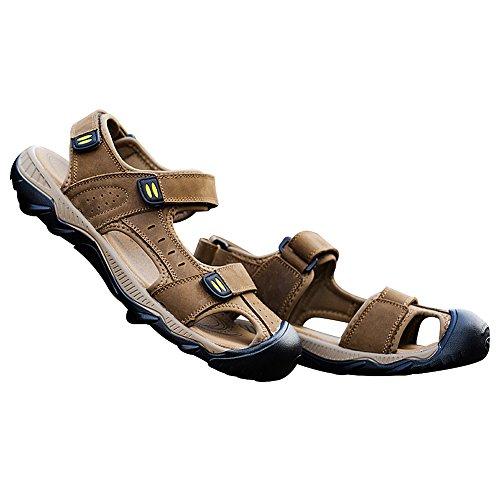 rismart Homme Bout Fermé Été Crochet et Boucle de Plein Air Randonnée Cuir Chaussures Sandales Bronzer1