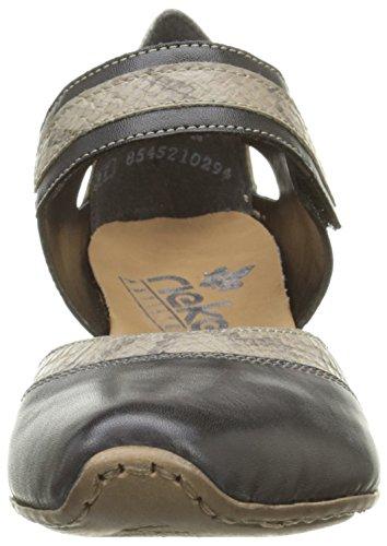 Rieker 49780-00, Scarpe Col Tacco con Cinturino a T Donna Nero (00 Black)