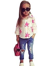 Bebé niña estrella ropa conjunto,Yannerr Chica manga larga camiseta tops +Jeans pantalones 2pcs trajes