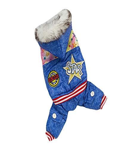 Lisay Small Dog Teddykleidung Britischer Wind Horn Schnallen MantelWinter Jumpsuit Sport Outfits Print Fleece Lining Sweatshirt Coat Pet Clothes Fleece-print-sweatshirt
