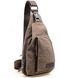Termichy Coole Outdoor Sports beiläufige Segeltuch Unbalance Rucksack Umhängetasche Sling Bag Umhängetasche Brusttasche für Männer (Kaffee)