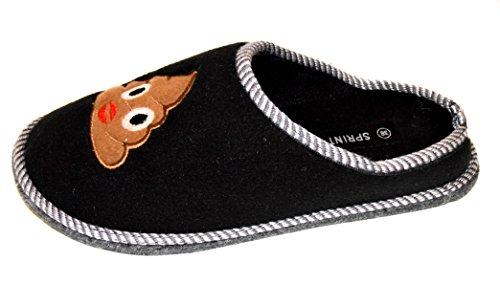 TMY -Filzpantoffeln mit Filzsohle/ Filzlatschen in Schwarz für Erwaschsene mit Smiley, Gr. von 36-45 Black