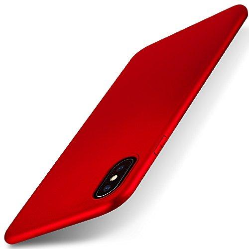 X-level iPhone XS Max Hülle, [Guardian Serie] Ultradünn Schlank TPU Case Weiche Silikon Schutzhülle, Handyhülle für iPhone XS Max Cover 6,5 Zoll 360° Voller Deckel, Einfacher Stil - Rot Deckel-case