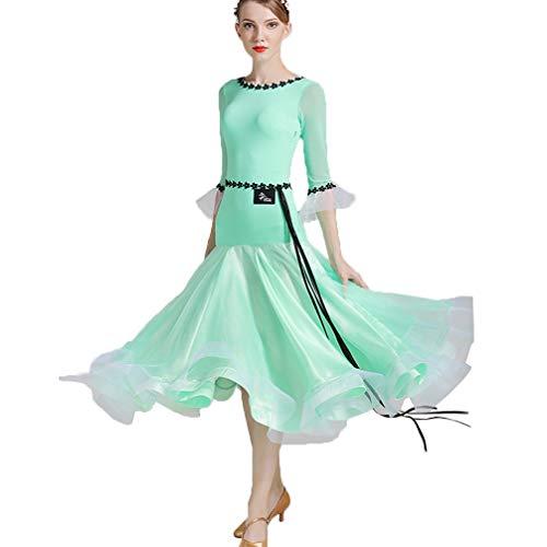 Einfach Minzgrün Ballsaal Modern Dance Kleid für Mädchen/Damen, Tanzperformance Kostüm, Teenager Walzer Tango üben Tanzkleider,Green,XXL (Salon Girl Kostüme)