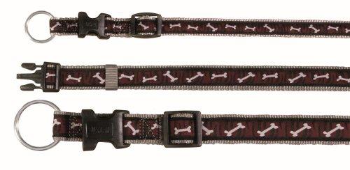 Artikelbild: Trixie Modern Art Halsband Bonies, S–M: 30–45 cm/15 mm, silbergrau/bordeaux