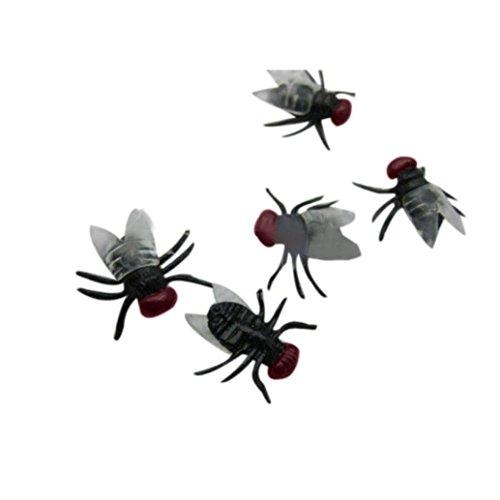 20 PC Halloween Kunststoff Schwarz Spinne Scherzen Spielzeug Kunststoff Insekten Plastik Modell Spinne Fliege Spielzeug Scherzt Spielzeug-Spinnen für Halloween Partei (Schwarz B) ()