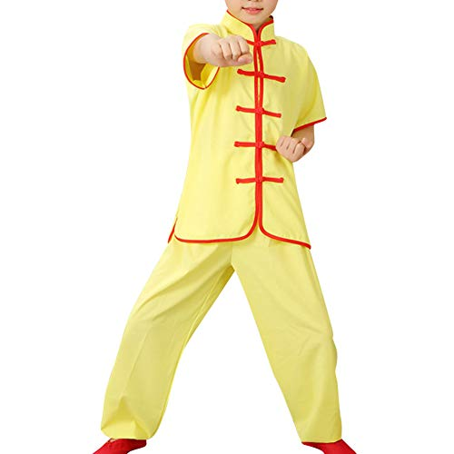 Yudesun Kampfsport Performance Kleidung - Chinesisch Traditionell Kostüme Kinder Sets Schüler Jungen Tai Chi Wushu Uniformen Kung Fu Mädchen Übung Komfort Stehkragen