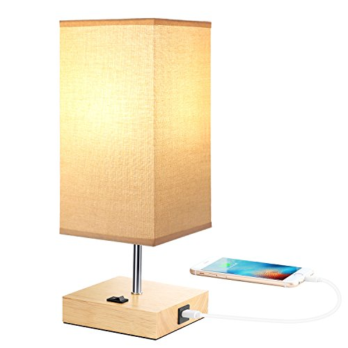 Nachttischlampe Holz Vintage Tischlampe USB Anschluss (5V/2.1A), Beige stoff Lampenschirm, E27 Base LED Schreibtischlampe, Morden Tischlampe Landhausstil -