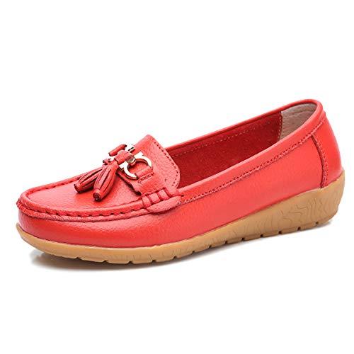 Zhenghewyh Mujer Mocasines de Cuero Casual Borla Mocasines Zapatos de Conducción Planos Zapatillas...