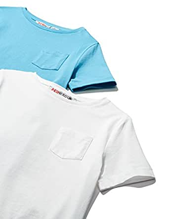 RED WAGON Boy's T-Shirt (pack of 2), Multicoloured (White/Light Blue), 4 Years