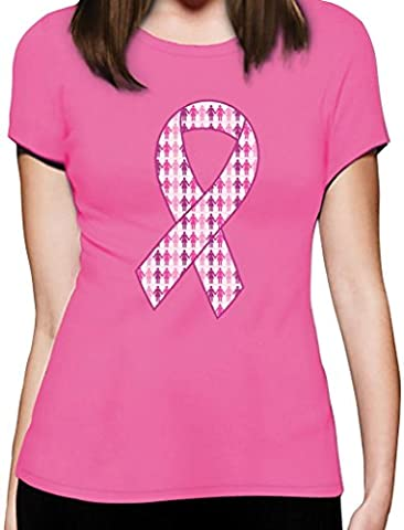 Support Breast Cancer Awareness - Big Pink Ribbon Women T-Shirt Large Pink
