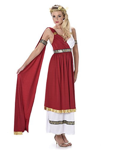 Womens Göttin Römischen Kostüm (Roman Empress Ladies Fancy Dress Ancient Greek Grecian Womens Adults)