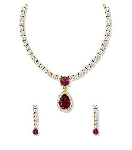 Zaveri Pearls Sparkling Solitaire Ruby Necklace Set For Women - ZPFK5184