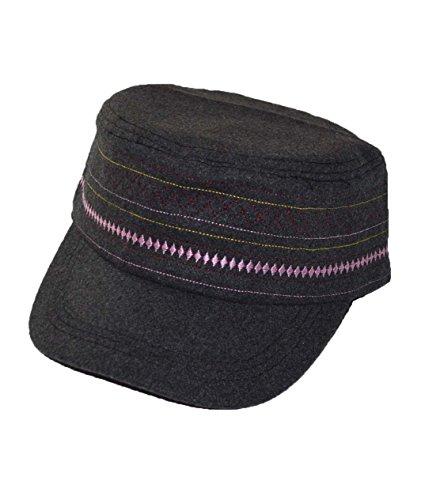 KGM Accessories Nice Schurwolle-Mischgewebe Bestickt Damen Cadet Cap, Grau - Cadet Hut