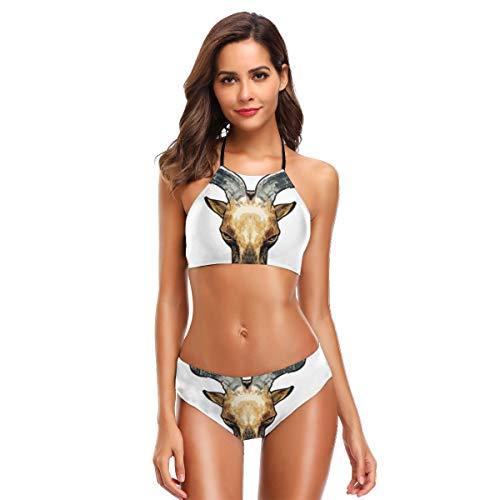 Metallic Schiere Bh (Wild Goat - 01 Damen Badeanzüge Blumendruck Badehosen Gepolsterte Halfter Bandage Bikini Zweiteiler Badeanzug L)