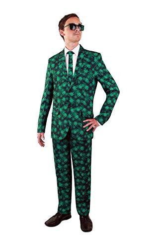 Kostüm Weed Tasche - shoperama Hanfblätter Party Herren Anzug mit Krawatte Sakko Jackett Hose Marihuana Cannabis-Druck Karneval JGA, Größe:48