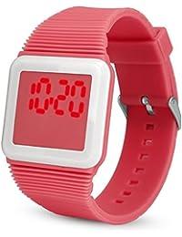 POTO Reloj de pulsera unisex de silicona LED reloj de pulsera deportivo electrónico digital reloj de