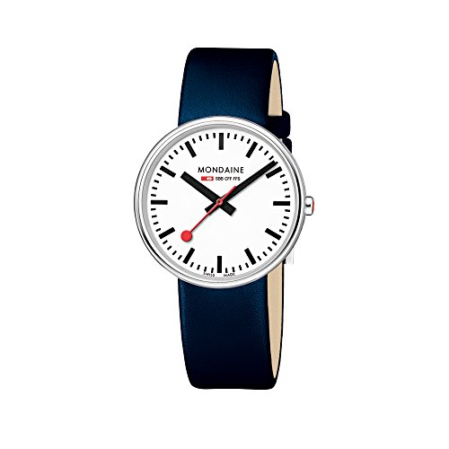 Mondaine Men's Mini Giant 35mm Watch with Stainless Steel polished Case white Dial and blue leather strap Strap A763.30362.11SBD