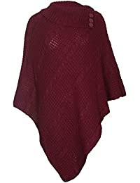 Para mujer capa chal wrap larga Jersey de punto para plegar rollo cuello botón Jersey Poncho